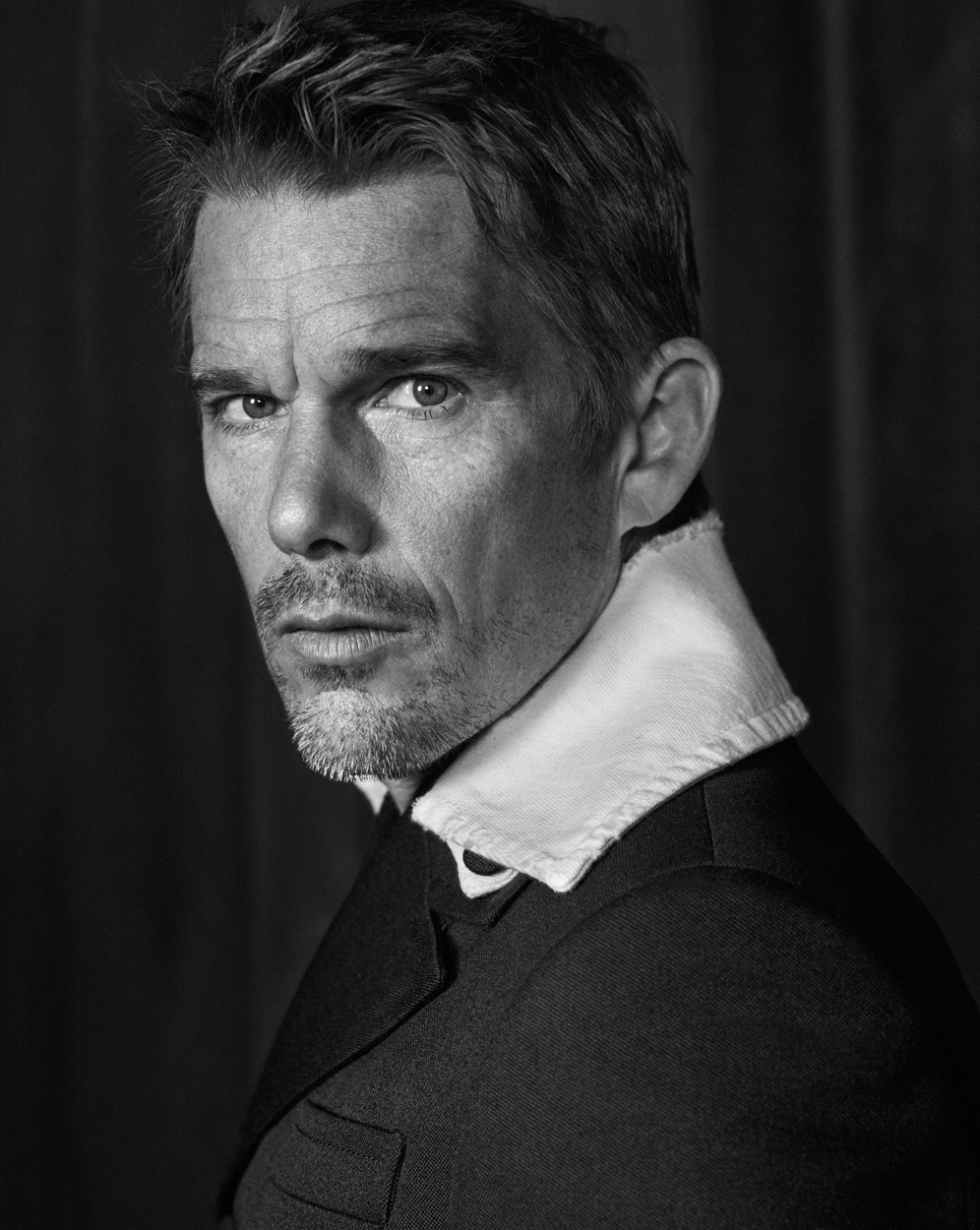 Celebrity Photographer Michael Schwartz: Ethan Hawke for Icon Magazine cover in Prada
